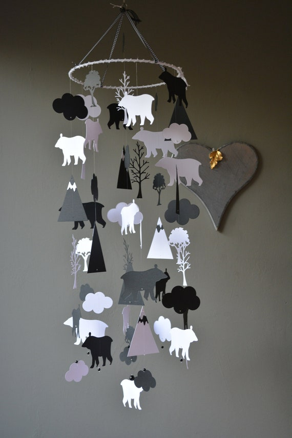 Bear and mountain nursery mobile or baby mobile from black and white card stock --- Nurserydecor, Bear or baby gift
