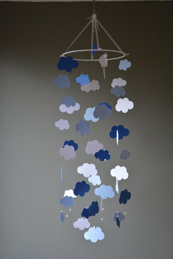 Cloud baby mobile / nursery mobile made from 2 blue shades and white card stock -- Handmade mobile, nursery decor, mom to be or baby gift