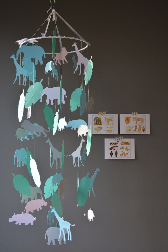 Jungle animal nursery mobile or baby mobile made from grey, white, blue and seagreen card stock Serengeti mobile, babygift or Jungledecor