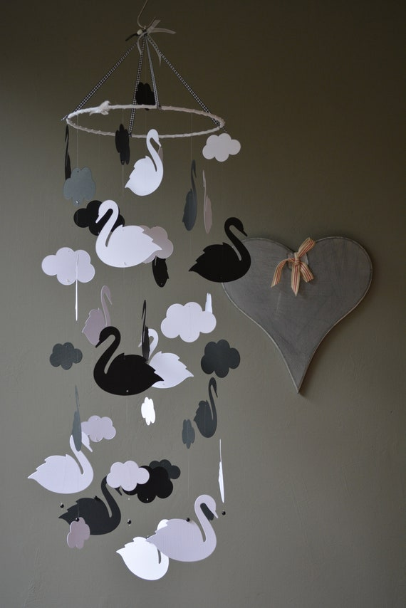 Swan nursery mobile or baby mobile made from white and black card stock --- Baby gift, swan decor or nursery decor