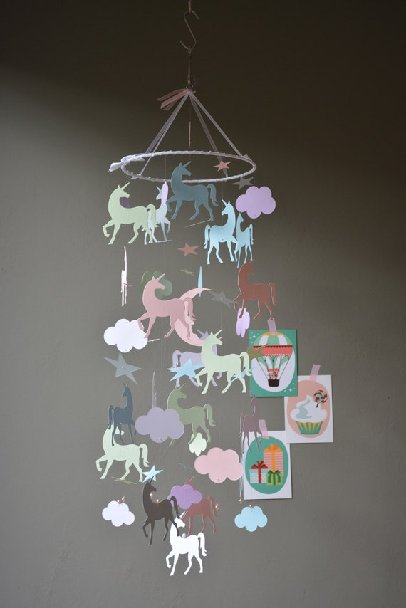 Unicorn nursery mobile or baby mobile made from pastel colors card stock --- Baby gift, unicorn decor or nursery decor