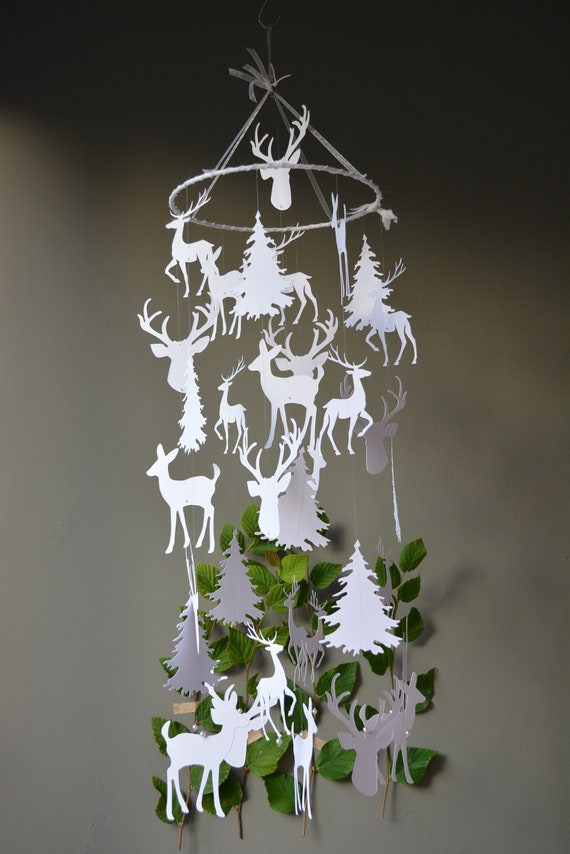 Deer / stags head nursery mobile or baby mobile made from white card stock -- Handmade, baby gift or nursery decor