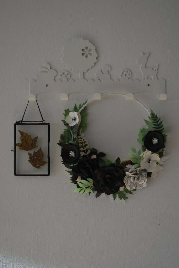Fall wreath, flower wreath or botanical wreath made from black, vintage white and green shades cardstock --- Storybook rose wreath