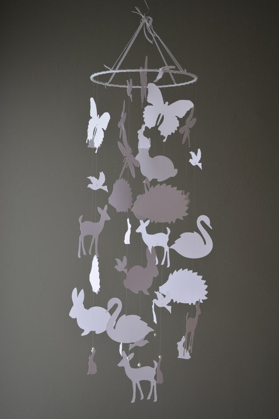 Spring animal nursery mobile or baby mobile made from white card stock --- Spring animal mobile, babygift, bambi