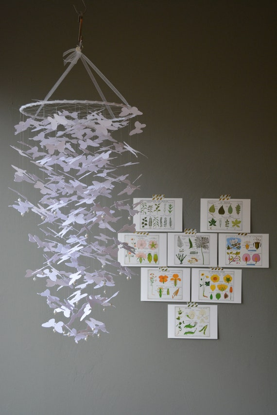Butterfly mobile or baby mobile from white card stock --- Butterfly babyshower, nursery decor, handmade or baby gift