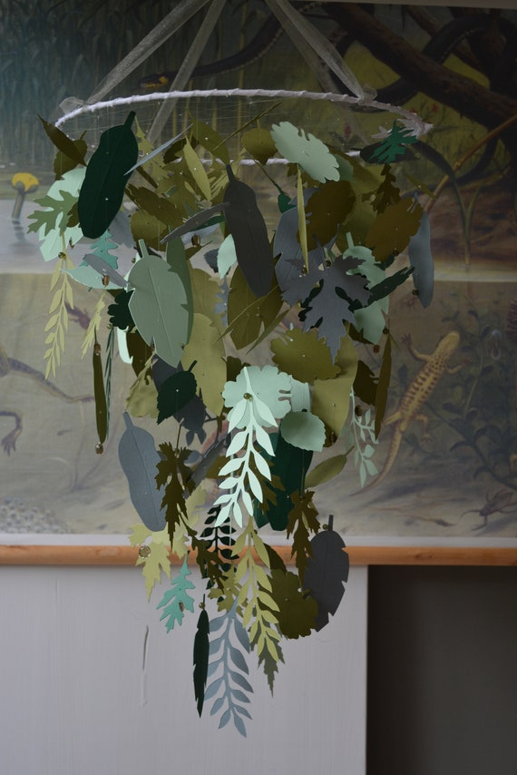 Jungle leaves baby mobile or nursery mobile from grey/green and 3 green shades card stock - Greenery nursery, tropical or jungle mobile