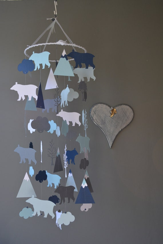 Bear and mountain nursery mobile or baby mobile from navy, 2 grey shades and white card stock --- Nurserydecor, Bear or baby gift