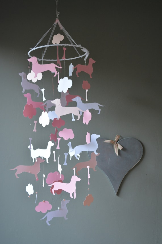 Dachshund baby mobile or dachshund nursery mobile from pink, soft pink and white card stock --- Dog mobile, dachshund baby or babyroom decor