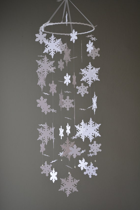 Baby mobile / nursery mobile frozen, snowflake made from white card stock --- Handmade mobile or nursery decor