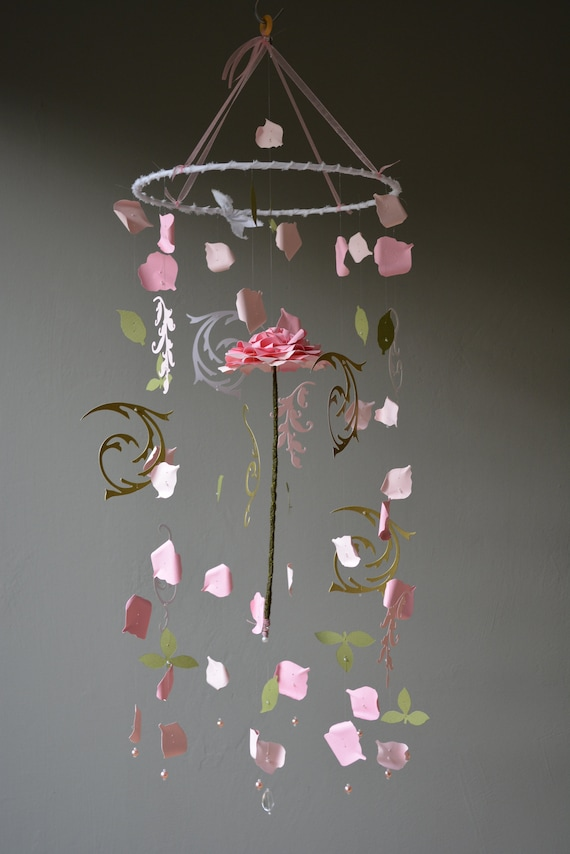 Beauty and the Beast enchanted rose inspired nursery mobile / baby mobile made in soft pink, pink, green and gold colors - Enchanted rose