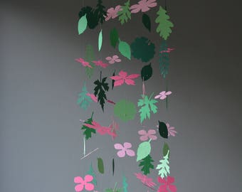 Flowers and leaves nursery mobile or baby mobile from dark pink, pink and green shades card stock - Handmade, Paper flowers nursery