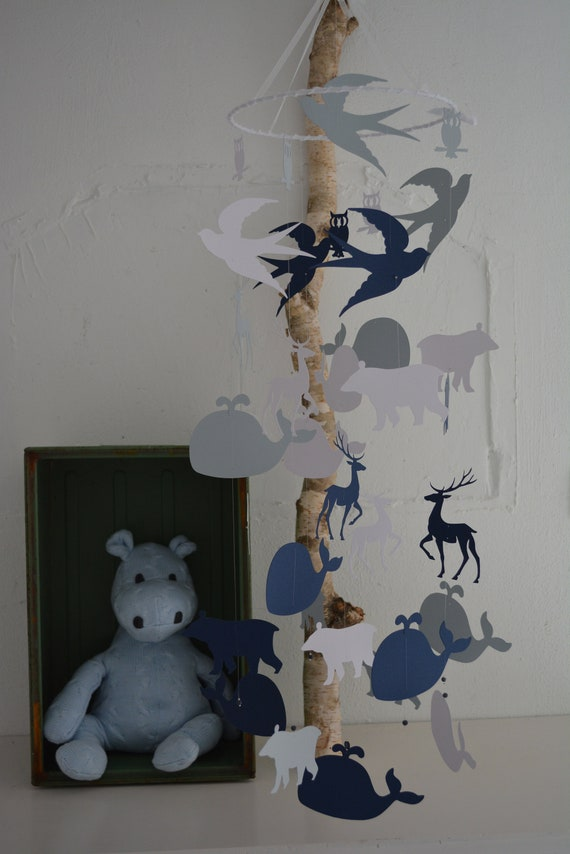 Baby mobile or nursery mobile polar animals made from white, grey and navy blue card stock --- Whale, animal mobile, babygift or babyroom