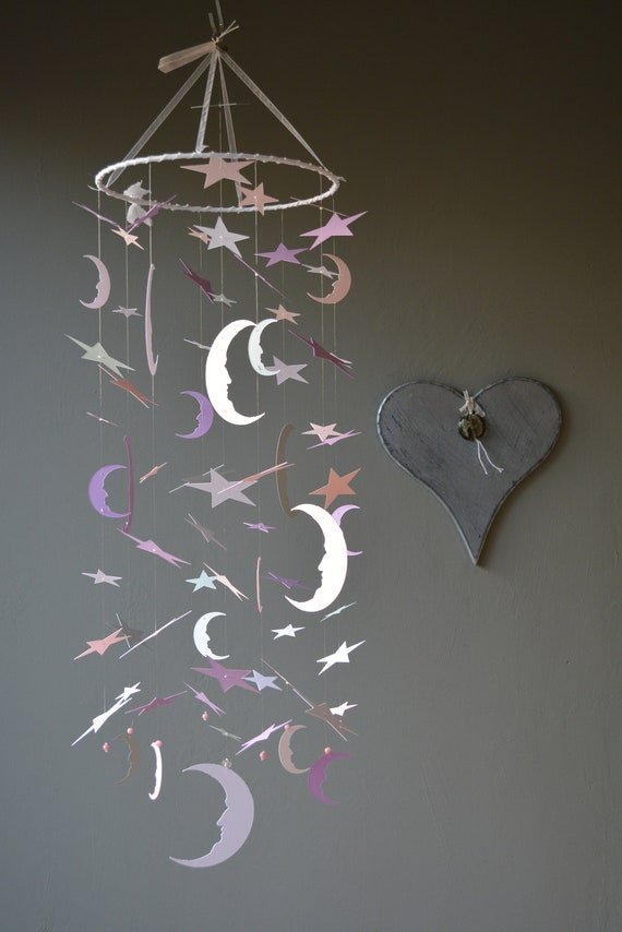 Bohemian baby mobile / moon and star nursery mobile from lilac, soft pink, grey and white card stock --- Star babymobile, kid's room