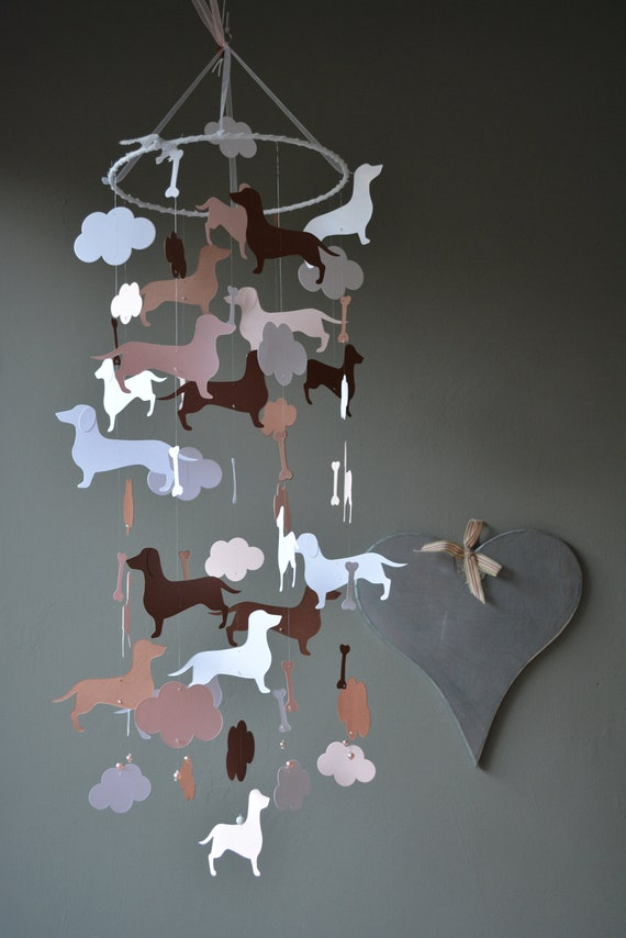 Dachshund baby mobile or dachshund nursery mobile from brown, soft pink and white card stock -- Dog mobile, dachshund baby or babyroom decor