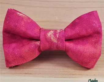 76d8f82bc0cd Gold Glitter Hot Pink Coral Durable Bow Tie Dog Cat Collar Washable