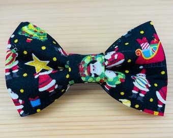 Santa Paws Christmas X-mas Bow Tie Dog Cat Attaches to Collar