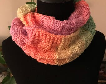 Clearance! Hand Knit Cowl / Muffler - Pastel Ombre