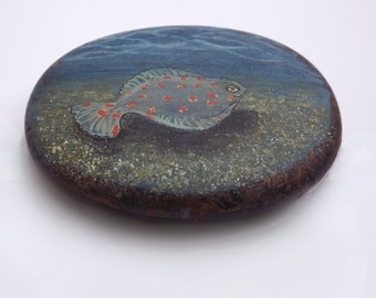 Plaice Fish painted wooden pebble - An original miniature painting of an underwater scene on a lovely smooth piece of wood.