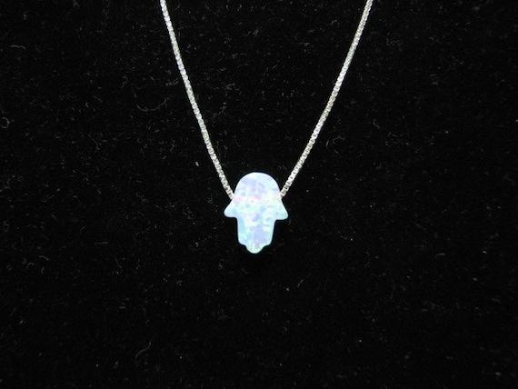 Opal Hand Necklace White Opal Hamsa hand Opal Hamsa on a Sterling SIlver chain