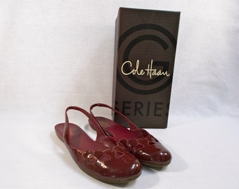 966fcc8c8af Cole Haan Burgundy Patent Leather Sling Flats