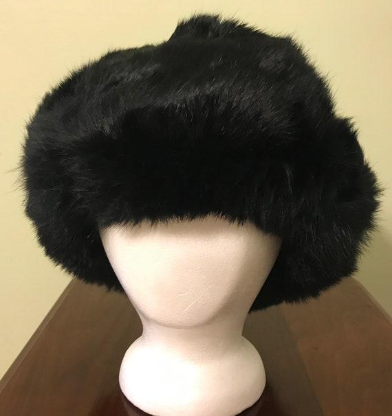 Vintage Black Mink Ladies' Hat with Flap Ear Muffs