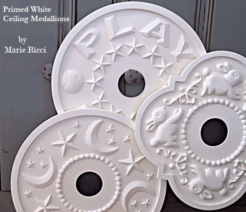 Ceiling Medallions White Nursery Decor Baby Shower Home and Living Boys Room Decor Sports Decor Marie Ricci White Decor Lighting