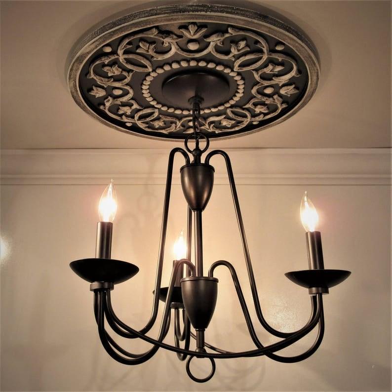18 medaglione di soffitto bianco per lampadario soffitto NwajMtsk
