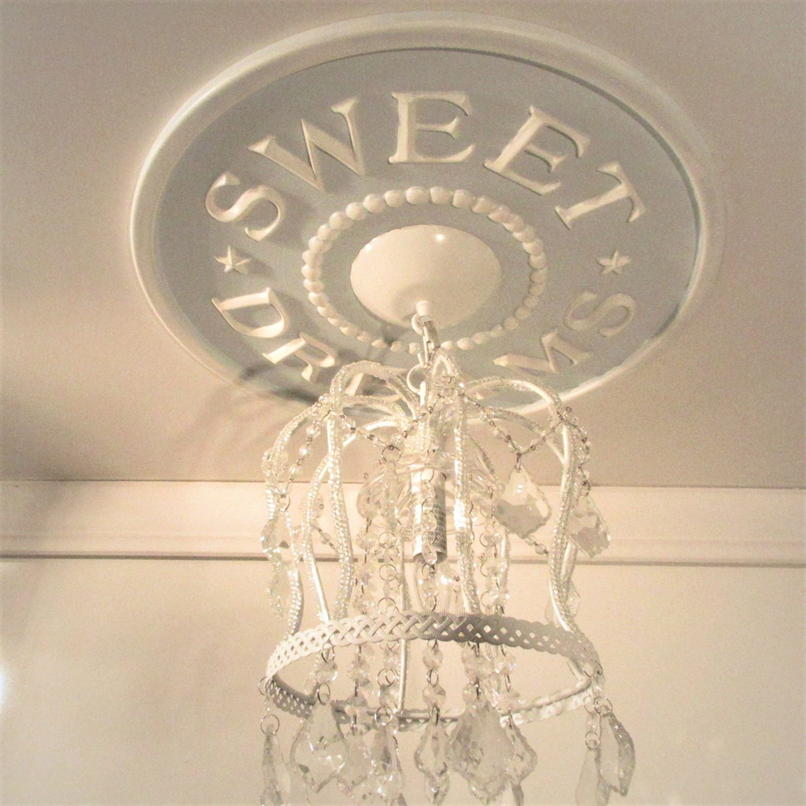 Home and Living, Farmhouse, Baby Shower Gift, Sweet Dreams Ceiling  Medallion, Marie Ricci, Lighting, Girls Room Decor, Ceiling Medallions