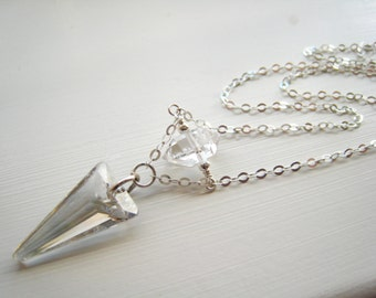 As Seen on The Vampire Diaries TVD Silver Season 7 Swarovski Crystal Spike Necklace Herkimer Diamond Worn by Caroline Forbes Minimalist Gift