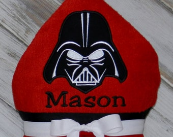 Personalized Hooded Darth Vader Towel - Sample Shown In Ripe Red
