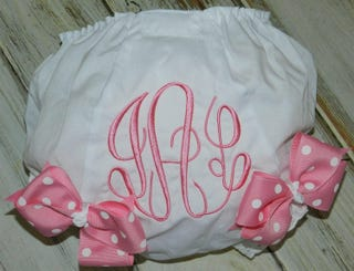 Monogrammed Diaper Cover  Baby Diaper Cover  Baby Bloomers  Baby Gift  Baby Shower Gift