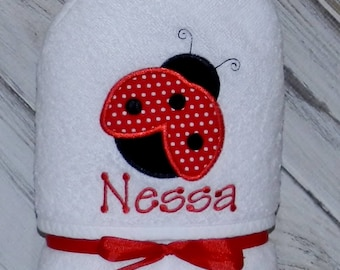 Ladybug Hooded Baby Towel / Personalized / Baby Gift / Shower Gift