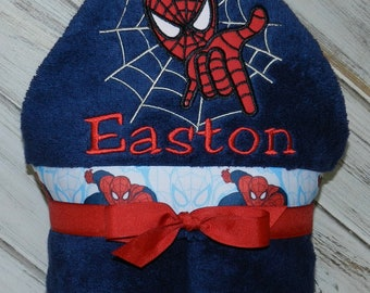 Personalized Hooded Spiderman Towel - Sample Shown in Academy Blue