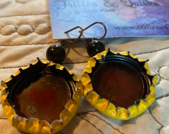 Schweppes bottle cap earrings, red, yellow and black, hand painted lightweight free shipping in the US
