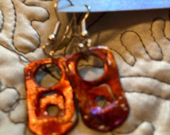 Hand painted soda tab earrings fire colors free US Shipping