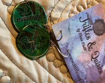 Alhambra bottle cap earrings green & gunmetal- hand painted, sculpted