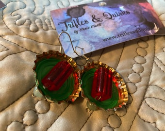 Bottlecap earrings - red, gold and green, made from Heineken caps & vintage beads