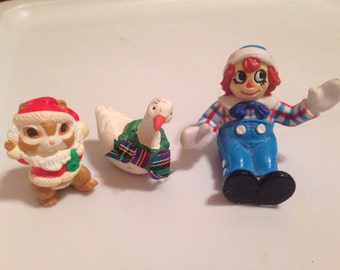 Vintage Christmas miniatures figurines goose raggedy andy and chipmunk plastic plaster free US shipping