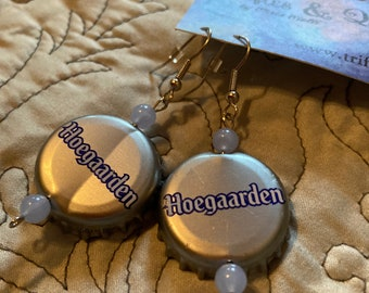 Hoegaarden Belgian beer blue and silver bottlecap earrings with vintage beads Free US shipping