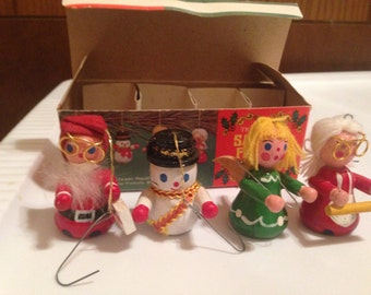 1970s Vintage trim-a-tree Christmas ornaments set of 4 in original package snowman, santa, mrs. claus, angel FREE US shipping