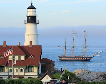 Portland Head Light with the Oliver Hazard Perry