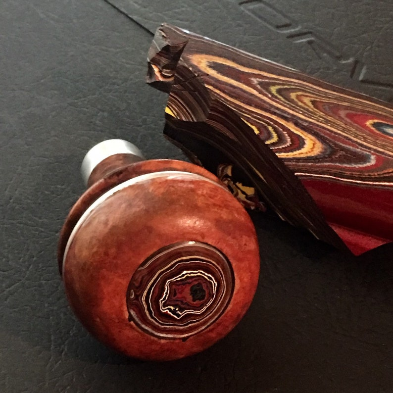 Fordite Recycled Vintage Wooden Car Shifter Knob Upcycled with image 0