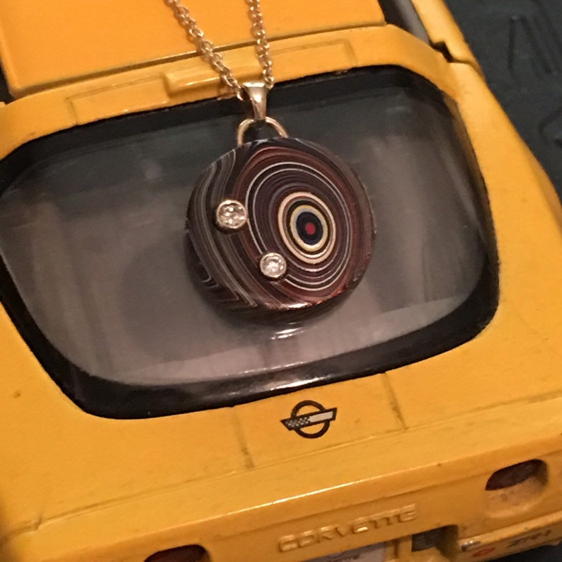 Fordite  Corvette Car Paint Disk with 14K gold bail Bezel set image 0