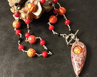 Fordite - Wisconsin Firetruck Paint Pendent Beads Sterling Wirework Necklace Sterling Silver with Faceted Black Onyx assent beads