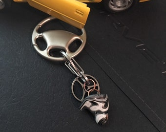 Fordite: Corvette Car Paint c.80s Drip & Gear Key chain with Matte Finish Steering Wheel ring