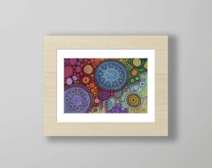 DoodlePainting - ORIGINAL -  12x9 - Abstract Circles Landscape Watercolor in Mat -  Kilojoules