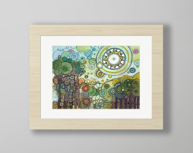 DoodlePainting - ORIGINAL -  16x12 - Abstract Circles Watercolor in Mat -  Sundara