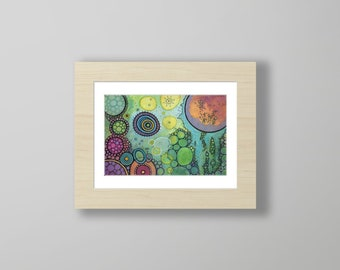 DoodlePainting - ORIGINAL -  12x9 - Abstract Circles Landscape Watercolor in Mat -  The Gaze
