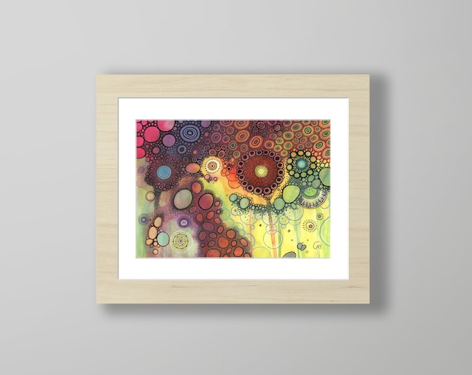 DoodlePainting - ORIGINAL -  14x11 - Abstract Circles Landscape Watercolor in Mat -  Houdini