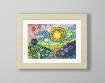 DoodlePainting - ORIGINAL -  16x12 - Abstract Circles Landscape Watercolor in Mat -  We Own the Sky